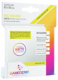 Gamegenic : Sachet de 50 sleeves Matte Big Square Lime (82 x 82 mm)