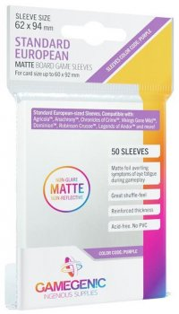 Gamegenic : Sachet de 50 sleeves Matte Standard European Purple (62 x 94 mm)